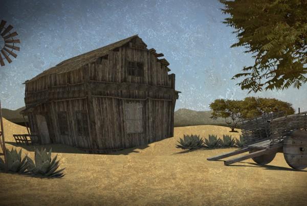 IBU3D Animación 3D de una casa en el desierto